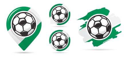 Nigerian football vector icons. Soccer goal. Set of football icons. Football map pointer. Football ball. Soccer ball vector sign. Scoring a goal