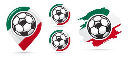 Mexican football vector icons. Soccer goal. Set of football icons. Football map pointer. Football ball. Soccer ball vector sign. Scoring a goal Ilustração