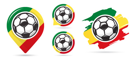 Senegalese football vector icons. Soccer goal. Set of football icons. Football map pointer. Football ball. Soccer ball vector sign. Scoring a goal Ilustração