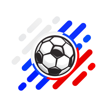 Russian football ball vector icon. Soccer ball on an abstract background of the color of the Russian flag. Soccer ball