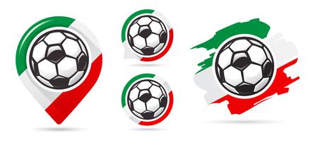 Italian football vector icons. Soccer goal. Set of football icons. Football map pointer. Football ball. Soccer ball vector sign. Scoring a goal