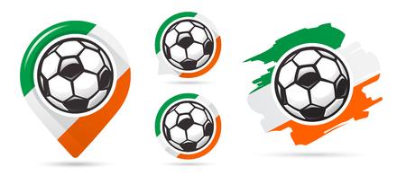 Irish football vector icons. Soccer goal. Set of football icons. Football map pointer. Football ball. Soccer ball vector sign. Scoring a goal