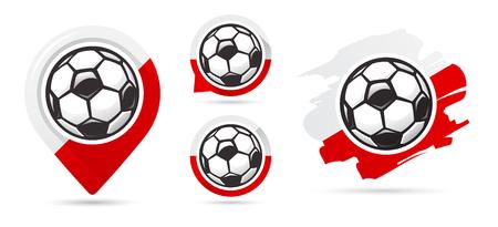Polish football vector icons. Soccer goal. Set of football icons. Football map pointer. Football ball. Soccer ball vector sign. Scoring a goal