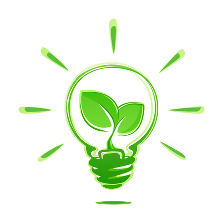 Ecology idea green bulb with plant vector illustration isolated on white background. Ecology concept green energy. Ecological energy vector symbol.
