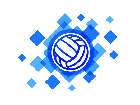 Volleyball ball on blue abstract background vector icon logo. Water polo ball