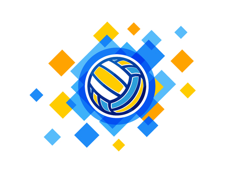Vector volleyball ball symbol. Volleyball championship logo isolated on white background. Ilustração