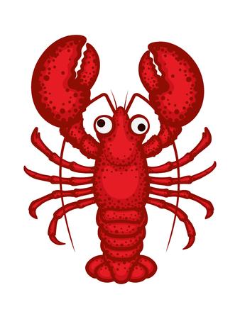 Caractère de vecteur de homard. Illustration vectorielle de homard en style cartoon isolé sur fond blanc