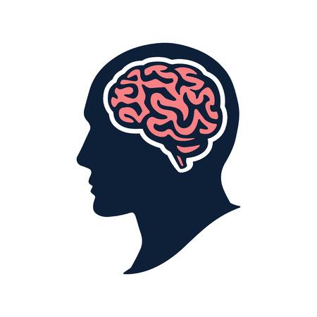 Silhouette head with brain vector flat illustation isolated on white backgroud Illustration