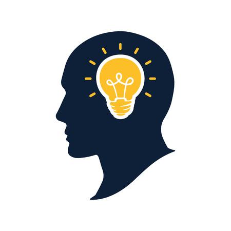Silhouette human head with bulb vector illustation. Creative thinking and imagination concept. Big idea logo icon design Illustration