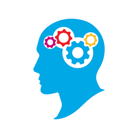 Silhouette human head with gears. Thinking brain vector illustration. Strategic thinking and planning concept.