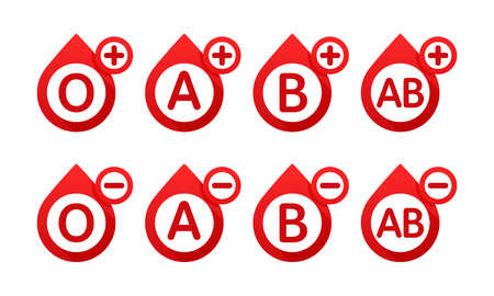 Blood type in the form of a drop of blood vector icons. Different blood types vector illustration. Donate blood