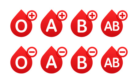 Blood group in the form of a drop of blood. Different blood types vector illustration. Blood test. Donation