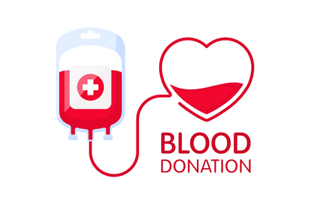 Donate blood concept with blood bag and heart. Blood donation vector illustration isolated on white background. World blood donor day - June 14.