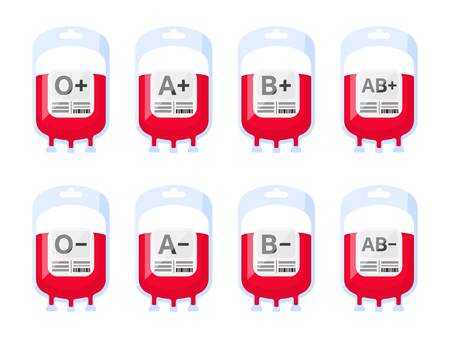 Blood bags with blood types vector illustration. Blood group vector icons isolated on white background. Blood donation vector illustration.
