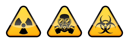 Three warning vector signs. Radiation warning sign, biohazard warning sign, gas mask warning sign