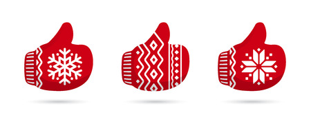 Thumbs up in christmas mittens vector icons. Like signs. Santa Claus like icon vector. Red Christmas mittens isolated on white background. Ilustração
