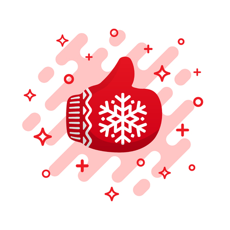 Red mitten thumb up vector icon. Like signs. Red Christmas mitten isolated on white background.