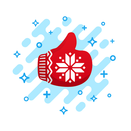 Like icon. Red mitten thumb up vector icon. Santa Claus like icon vector. Red Christmas mitten isolated on white background. Ilustração