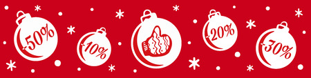 Christmas and New Year's sale. Christmas balls sale. Banner for shopping store discount. Christmas sale discount with snowflakes in red background 免版税图像 - 127474099