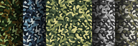 Camouflage seamless vector pattern background. Set of 5 pack Camouflage seamless patterns. Abstract modern military textile print background. Vector illustration.
