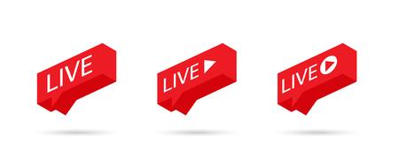 Live Stream sign, emblem, logo. Social media icon LIVE streaming. LIVE icon, button, symbol, web, ui, app. Speech bubble. Vector illustration.