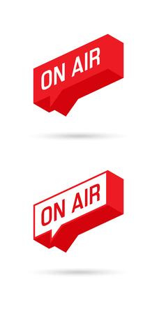 On Air sign, emblem, logo. Live stream symbol. Speech bubble. Illustrration on-air sign, broadcast media sound, radio and television record. Ilustração
