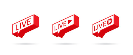 Icône LIVE, bouton, symbole, web, interface utilisateur, application. Icône de médias sociaux Diffusion en direct. EN DIRECT sur une bulle de dialogue. Illustration vectorielle. Vecteurs