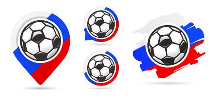 Russian football vector icons. Soccer goal. Set of football icons. Football map pointer. Football ball. Soccer ball vector sign. Scoring a goal