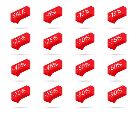 Percent discount icons. Sale discount icons. Discount tag design elements. Discount price sale bubble icons. Special offer flat promotion sign design. Vector illustration.