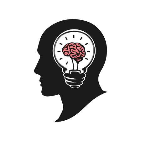 Human head creating a new idea vector illustration. Human head with brain. Silhouette human head with light bulb. Big idea logo icon design Illustration