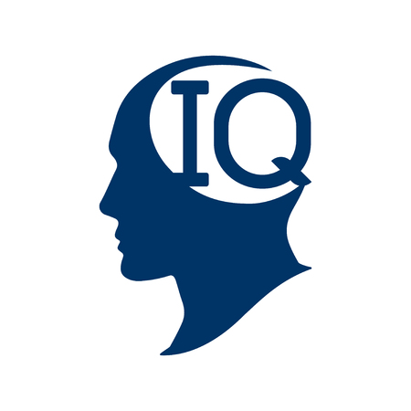 IQ intelligence quotient. Silhouette human head with IQ vector illustration. IQ test concept.