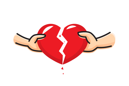 The hand of a man and the hand of a woman break the heart. Breakup heart concept. Crisis relationship divorce. Unhappy love, conflict. Vector illustration. Element for presentation, web, infographic. Banque d'images - 125075376