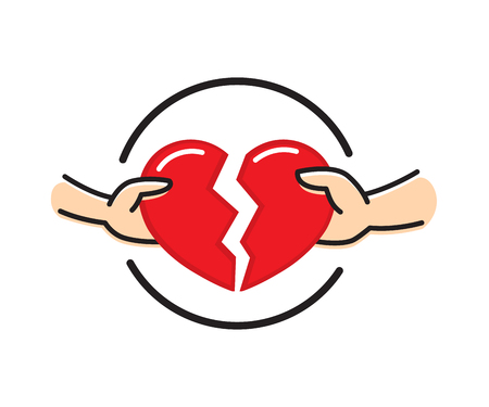 Male and female hands with broken red heart. Breakup heart concept. Crisis relationship divorce. Unhappy love, conflict. Vector illustration flat design. Element for presentation, web, infographic.