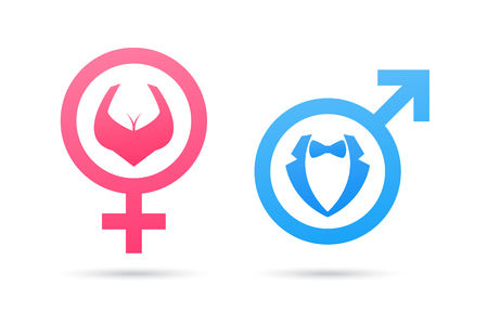 Vector male and female gender symbol. Man and woman icon. Gentleman and lady toilet sign. Venus and Mars signs. Vectores