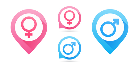 Vector male and female icon set. Man and woman icon. Venus and Mars signs. Map pointers. Pink and Blue Gender Signs Ilustração