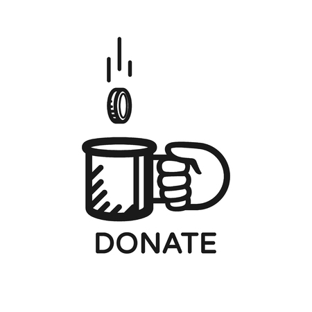 Donate coin vector logo. Donate and help. Charity, donation concept. Coin falls into the beggar's mug.