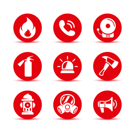 Fire safety icons set. Fire emergency icons set. Vector signs. Firefighter icons set