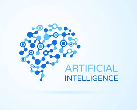 Artificial Intelligence (AI) vector logo. Artificial intelligence (AI), machine deep learning, data mining and another modern computer technologies concepts. Neural network concept.