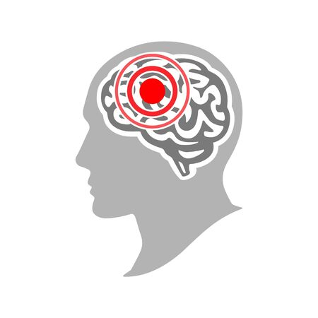 Concept de maux de tête et de migraine. Maladie du cerveau. Concept de migraine de tension ou de symptôme cérébral et de maux de tête ou de mauvaise émotion personnelle. Illustration vectorielle Vecteurs