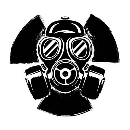 Signe de radioactivité avec masque à gaz : le concept de pollution et de danger. Illustration vectorielle de masque à gaz grunge. Signe radioactif. Danger radioactif. Accident radioactif.