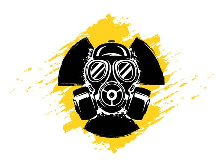 Signe de radioactivité avec illustration vectorielle de masque à gaz grunge. Concept de pollution et de danger. Signe radioactif. Danger radioactif. Symbole toxique radioactif.