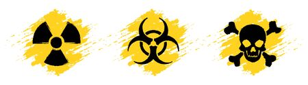 Danger grunge vector signs isolated on white background. Radiation sign, Biohazard sign, Toxic sign, Poison sign.