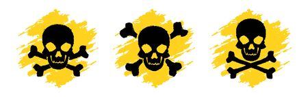 Toxic Hazard Grunge Symbols. Poison vector signs. Skull and crossbones signs. Danger vector signs isolated on white background
