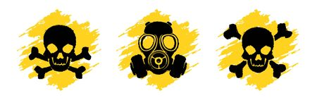 Toxic Hazard Grunge Signs. Poison vector symbols. Skull and crossbones signs. Gas mask warning sign. Danger vector signs isolated on white background