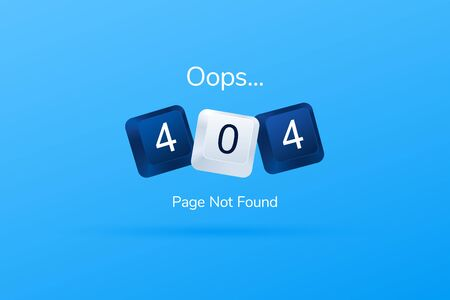 404 error page template for website. 404 written with computer buttons. Computer keyboard keys. Website 404 page creative concept. Vector illustration eps 10