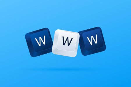 WWW word written with computer keyboard buttons. World Wide Web. Internet website concept. Computer keyboard keys. WWW concept. Vector illustration eps 10