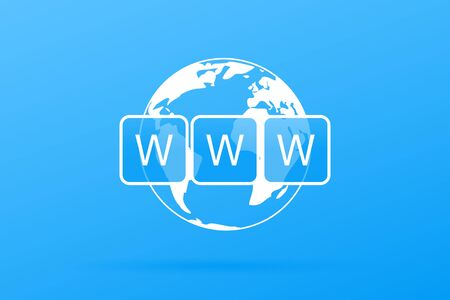World Wide Web vector symbol. WWW icon. Website symbol. Globe with text www. Internet website concept. Vector illustration eps 10