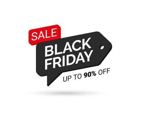 Black Friday sales tag in the form of a speech bubble. Design element for sale banners, posters, cards. Promotional marketing discount event. Design element for advertising shopping. Vector illustration eps 10 矢量图像