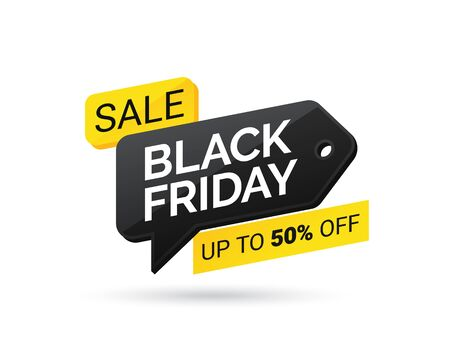 Sale tag with Black Friday on white background. Black friday design, label, sale, discount, advertising, marketing price tag. Discounted price or special offer on Black Friday. Vector illustration eps 10