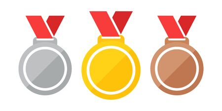 Medals isolated on a white background vector illustration eps 10. Set of medals gold, silver, bronze. Gold, silver and bronze medals with red ribbon flat vector icons.
